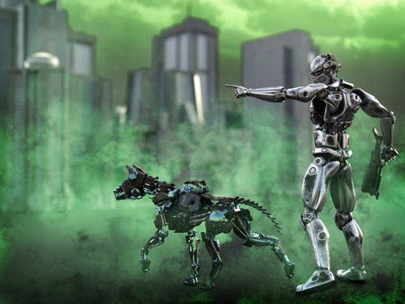 3D rendering of a futuristic mech soldier holding a rifle and pointing with a dog beside him in a polluted futuristic dystopian world. Green toxic smoke all around them. Stock Photo
