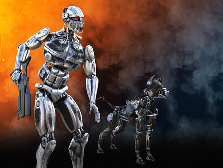 3D rendering of a futuristic mech soldier holding a rifle with a dog beside him in a futuristic dystopian world. Smoke and fire in the background.