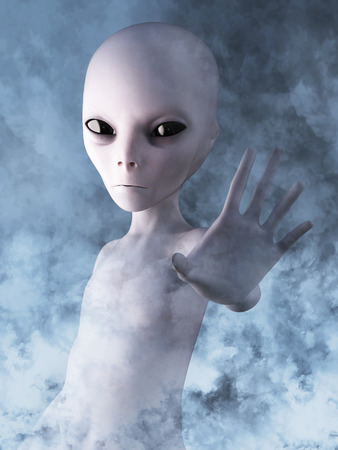 Alien reaching out its hand. He is surrounded by smoke or clouds like it's a dream, 3D rendering. Archivio Fotografico