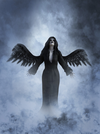 An angel of death with its black wings spread, 3D rendering. She is surrounded by smoke or clouds like its a dream or in heaven.