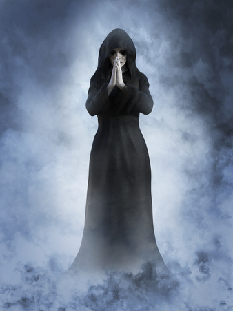 3D rendering of a ghost nun or saint praying with her hands together. She is surrounded by smoke or clouds like its a dream or in heaven. Stock Photo