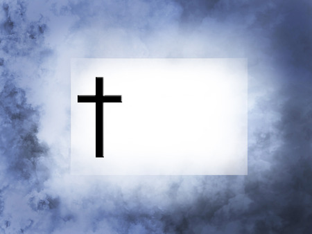 3D rendering of a blank card with a cross on heavenly background for your divine message. Stock Photo