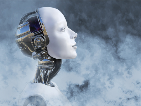 Dreamy head portrait of a female robot surrounded by smoke, 3D rendering Stock Photo