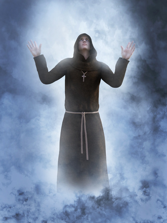 3D rendering of a christian monk worshipping with his hands in the air surrounded by smoke or clouds like its a dream or in heaven.