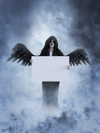 An angel of death with its black wings spread holding a blank sign for your divine message, 3D rendering. She is surrounded by smoke or clouds like its a dream or in heaven.
