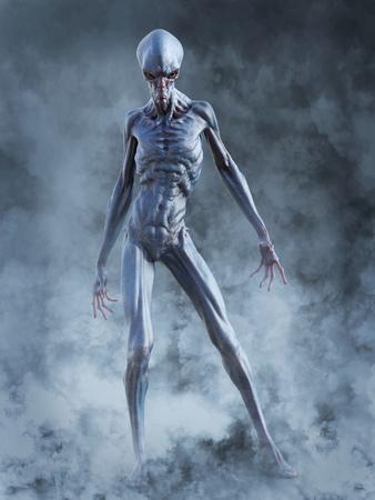 Porträt einer außerirdischen Kreatur, die sehr wütend aussieht, bereit anzugreifen, 3D-Rendering. Er ist von Rauch oder Nebel umgeben.