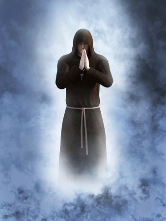3D rendering of a christian monk praying with his hands together. He is surrounded by smoke or clouds like its a dream or in heaven. Stock Photo