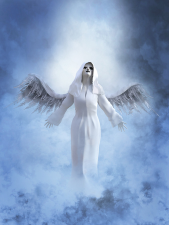 A white angel with its wings spread, 3D rendering. She is surrounded by smoke or clouds like its a dream or in heaven.