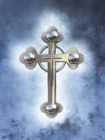 3D rendering of a celtic cross in heaven with clouds around it.
