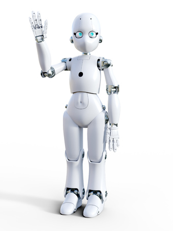 3D rendering of a white friendly cartoon robot waving hello. White background.