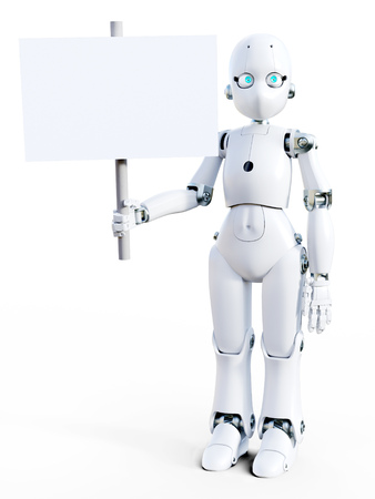 3D rendering of a white friendly cartoon robot holding a blank sign in its hand. White background. Stock Photo