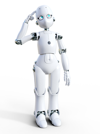 3D rendering of a white friendly cartoon robot thinking about something. White background. Stock Photo