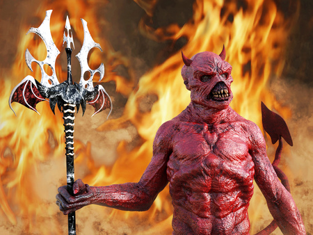 A mean looking demonic, red devil with horns standing holding trident pitchfork, 3D rendering. He is surrounded by smoke and fire like in hell.