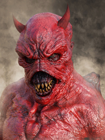 Head portrait of a mean looking demonic, red devil with horns, 3D rendering. He is surrounded by smoke.