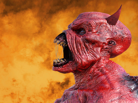 Head portrait of a mean looking demonic, red devil with horns. His mouth is open and full of slimy saliva, 3D rendering. He is surrounded by fire.