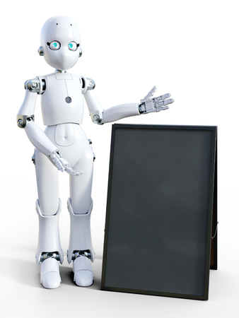 3D rendering of a white friendly cartoon robot standing next to a blank sandwich board and pointing to it. White background.