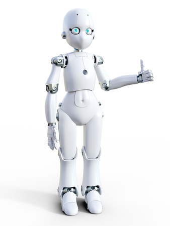 3D rendering of a white friendly cartoon robot doing a thumbs up. White background. Stock Photo