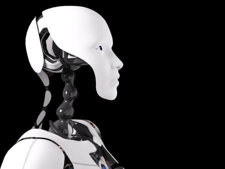 Head portrait of a female robot, 3D rendering. Black background.