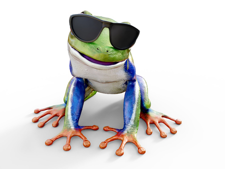 Realistic 3D rendering of a green, blue and orange colored red-eyed tree frog, Agalychnis callidryas, sitting on a white floor and wearing sunglasses, looking like its smiling.