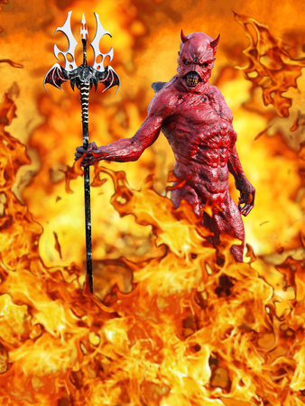 A mean looking demonic, red devil with horns standing holding trident pitchfork, 3D rendering. He is surrounded by fire like in hell. Stock Photo