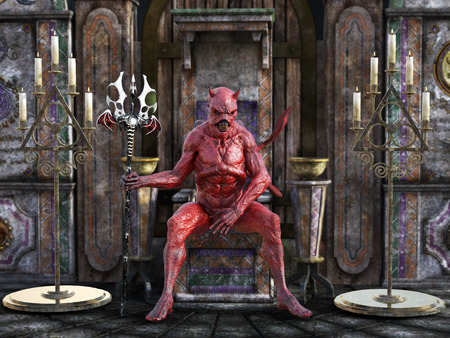 A mean looking demonic, red devil with horns holding trident pitchfork and sitting on a throne, 3D rendering.