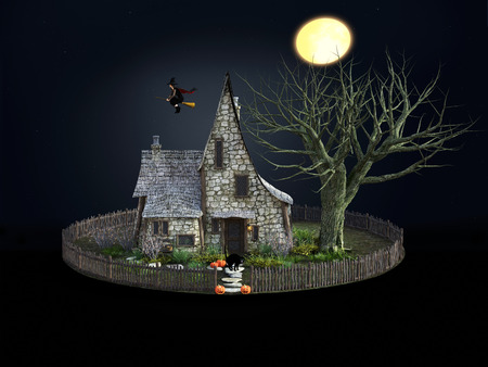 3D rendering of a spooky witch house at night with halloween pumpkins, black cat, a flying witch and a full moon. Stock Photo