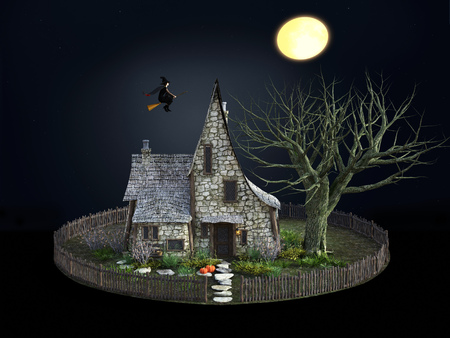 3D rendering of a spooky witch house at night with halloween pumpkins, a flying witch and a full moon.