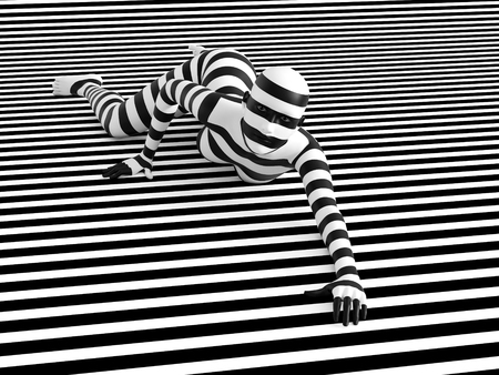 3D rendering of a woman lying on the floor on a black and white striped background, trying to break out of the mold. She doesnt fit or blend in.