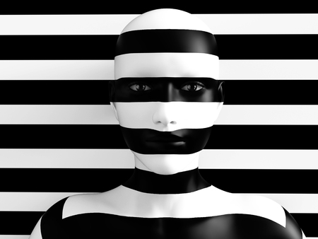 3D rendering of a womans face trying to blend in with the black and white striped background, afraid to show her true colours. She is standing with her head against the wall and hiding like a wallflower. Stok Fotoğraf