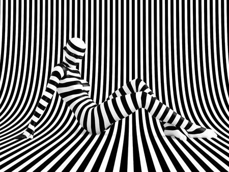 3D rendering of a woman sitting on the floor on a black and white striped background, trying to break out of the mold. She doesnt fit or blend in.