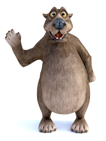 3D rendering of a charming smiling cartoon bear waving hello. White background.