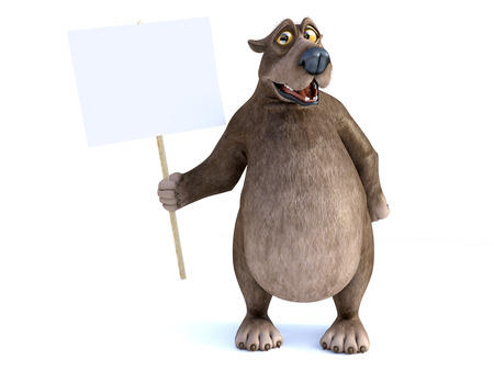 3D rendering of a charming smiling cartoon bear holding a blank sign in his hand. White background. Stock Photo