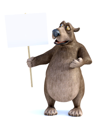 3D rendering of a charming smiling cartoon bear holding a blank sign in his hand. He is looking at the sign. White background. Stock Photo
