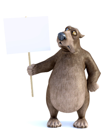 3D rendering of a charming grumpy cartoon bear holding a blank sign in his hand. He is looking at the sign with an angry face. White background.