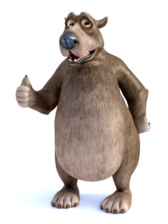 3D rendering of a charming smiling cartoon bear doing a thumbs up. White background. Stock Photo