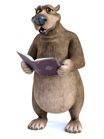 3D rendering of a charming smiling cartoon bear holding a book in his hand that he is reading. Its storytime! White background.