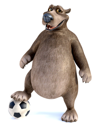 3D rendering of a charming smiling cartoon bear posing with his foot on a soccer ball. White background.
