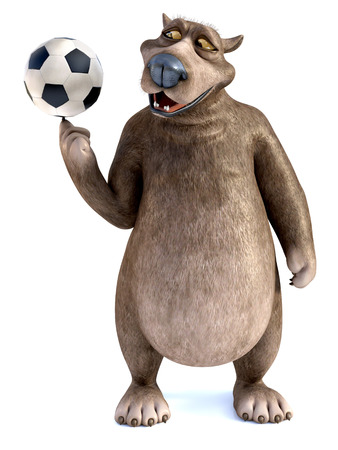 3D rendering of a charming smiling cartoon bear spinning a soccer ball on his finger. White background.