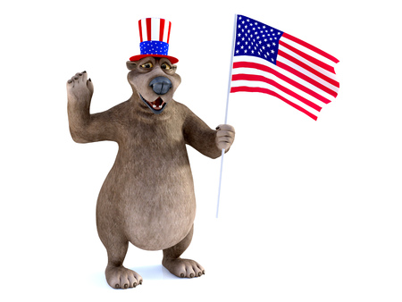 3D rendering of a charming smiling cartoon bear wearing a flag decorated hat and holding an American flag. He is celebrating 4th of July or Independence Day and showing he is a proud American. White background.