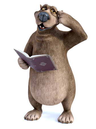 3D rendering of a charming smiling cartoon bear holding a book in his hand thinking about something, looking a bit confused while scratching his head. White background.