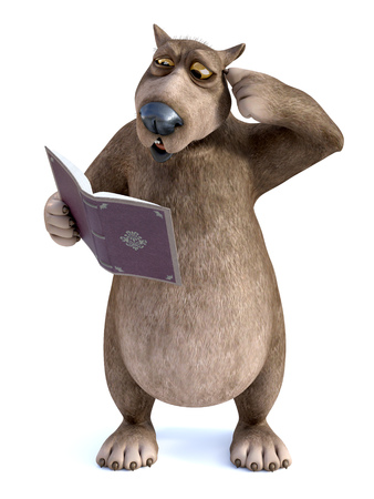 3D rendering of a charming smiling cartoon bear holding a book in his hand and looking confused while scratching his head. White background. Stock Photo
