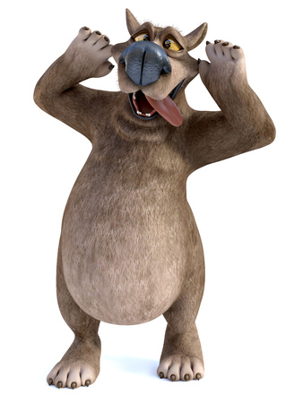 3D rendering of a charming smiling cartoon bear sticking his tongue out and doing a silly face. White background.