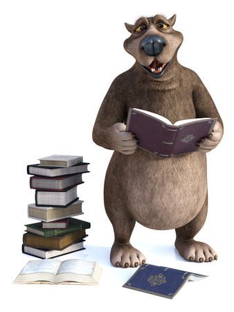 3D rendering of a charming smiling cartoon bear holding a book in his hand. A pile of books are on the floor next to him. Its storytime! White background.