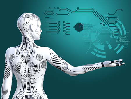 3D rendering of a robot woman standing with its back agianst the camera, holding her arm out. Futuristic digital concept. Stock Photo