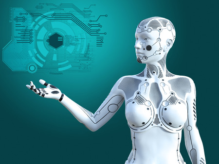 3D rendering of a robot woman standing and holding her arm out. Futuristic digital concept. Stock Photo