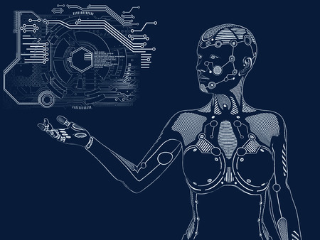 3D rendering illustration of a robot woman standing and holding her arm out. Futuristic digital concept.