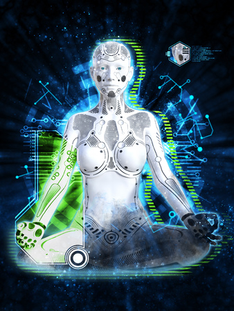 3D rendering of a robot woman sitting in space and meditating. Futuristic digital technology concept.