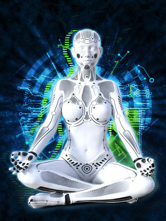 3D rendering of a robot woman sitting in space and meditating with her eyes closed. Futuristic digital technology concept.
