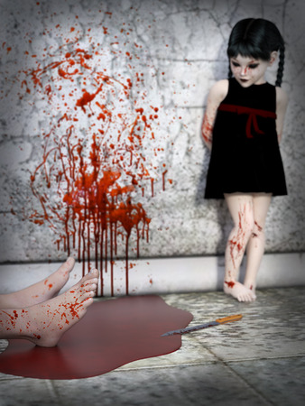 3D rendering of an evil gothic looking, blood covered small girl standing in the background with a pair of feet lying in a puddle of blood in front of her. Blood splatter on the wall beside her. Camera focus are on the feet.