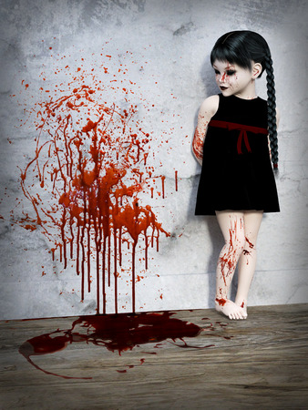 3D rendering of an evil gothic looking, blood covered small girl standing with blood splatter on the wall beside her.